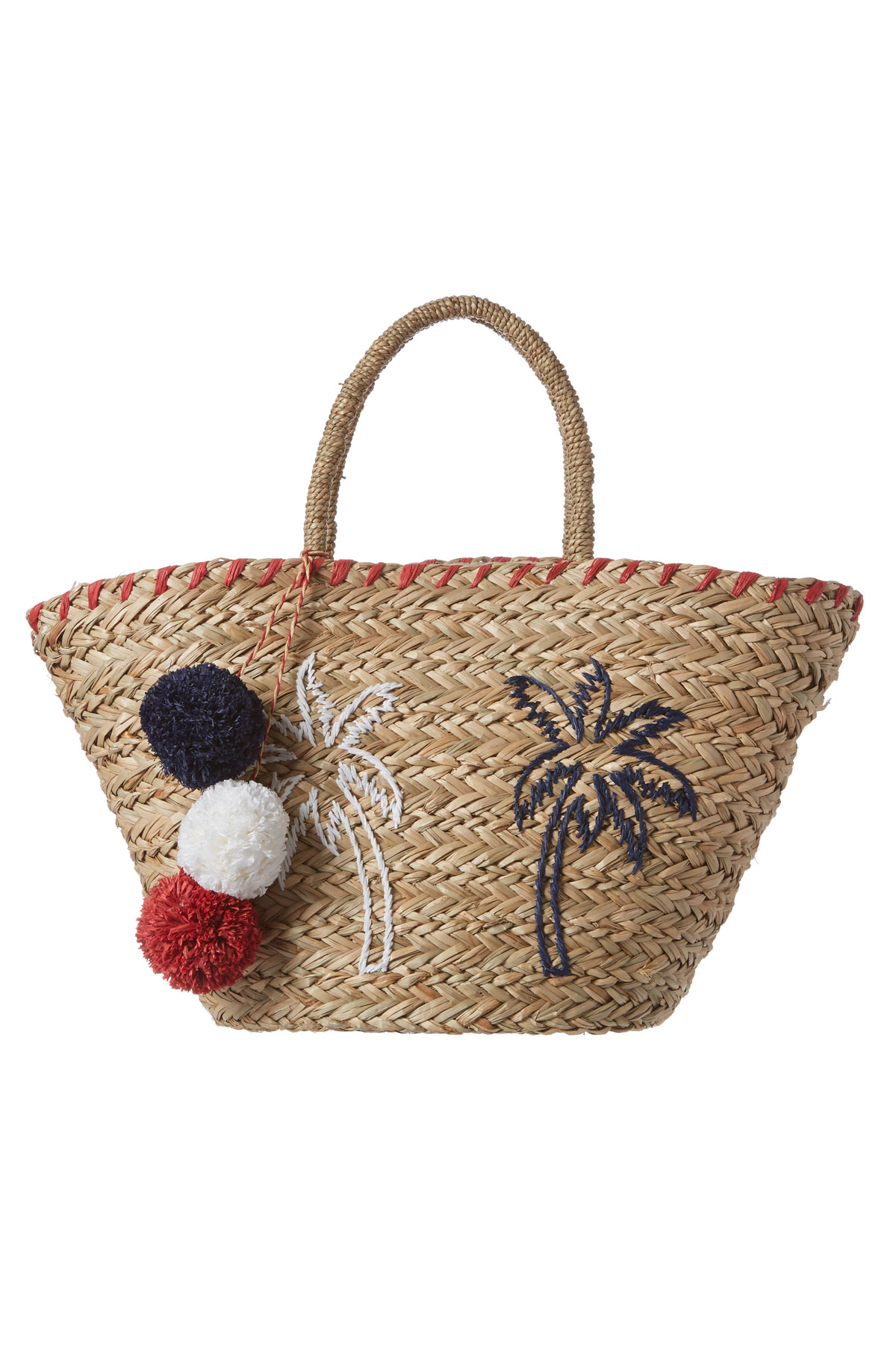 Embroidered Palm Tree Straw Tote - Natural 1
