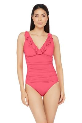 Ruffled Over the Shoulder One Piece Swimsuit