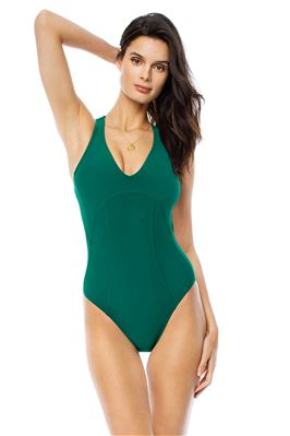 V-Neck One Piece Swimsuit