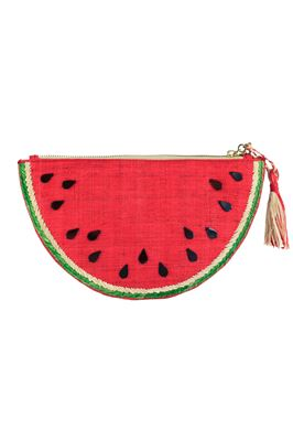 Frutta Embroidered Raffia Clutch