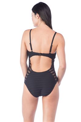 Crochet Lace Cutout Over The Shoulder One Piece Swimsuit