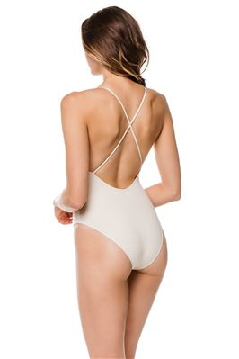 Harbour Island Reversible Striped Over The Shoulder One Piece Swimsuit