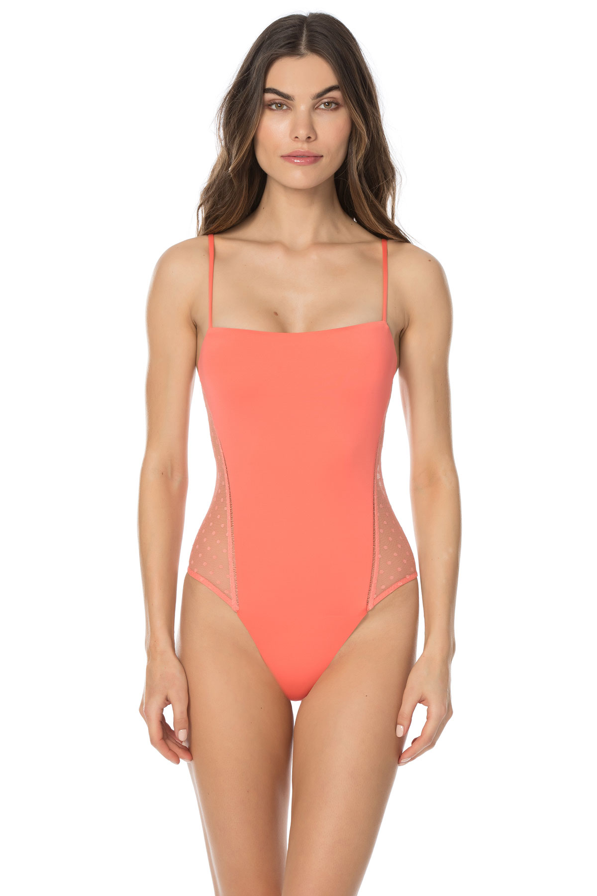 Mesh Lace Over The Shoulder One Piece Swimsuit - Persimmon