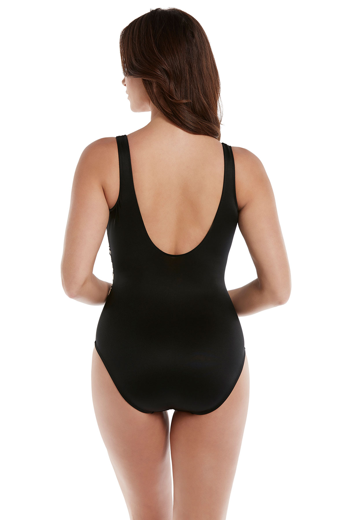 Elan Plunge Over The Shoulder One Piece Swimsuit - Black/White 2