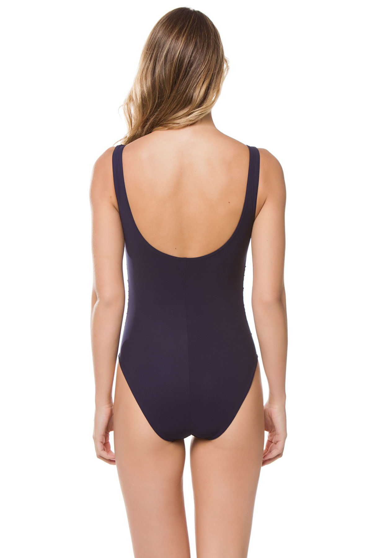 Shirred Over The Shoulder One Piece Swimsuit - Navy 2