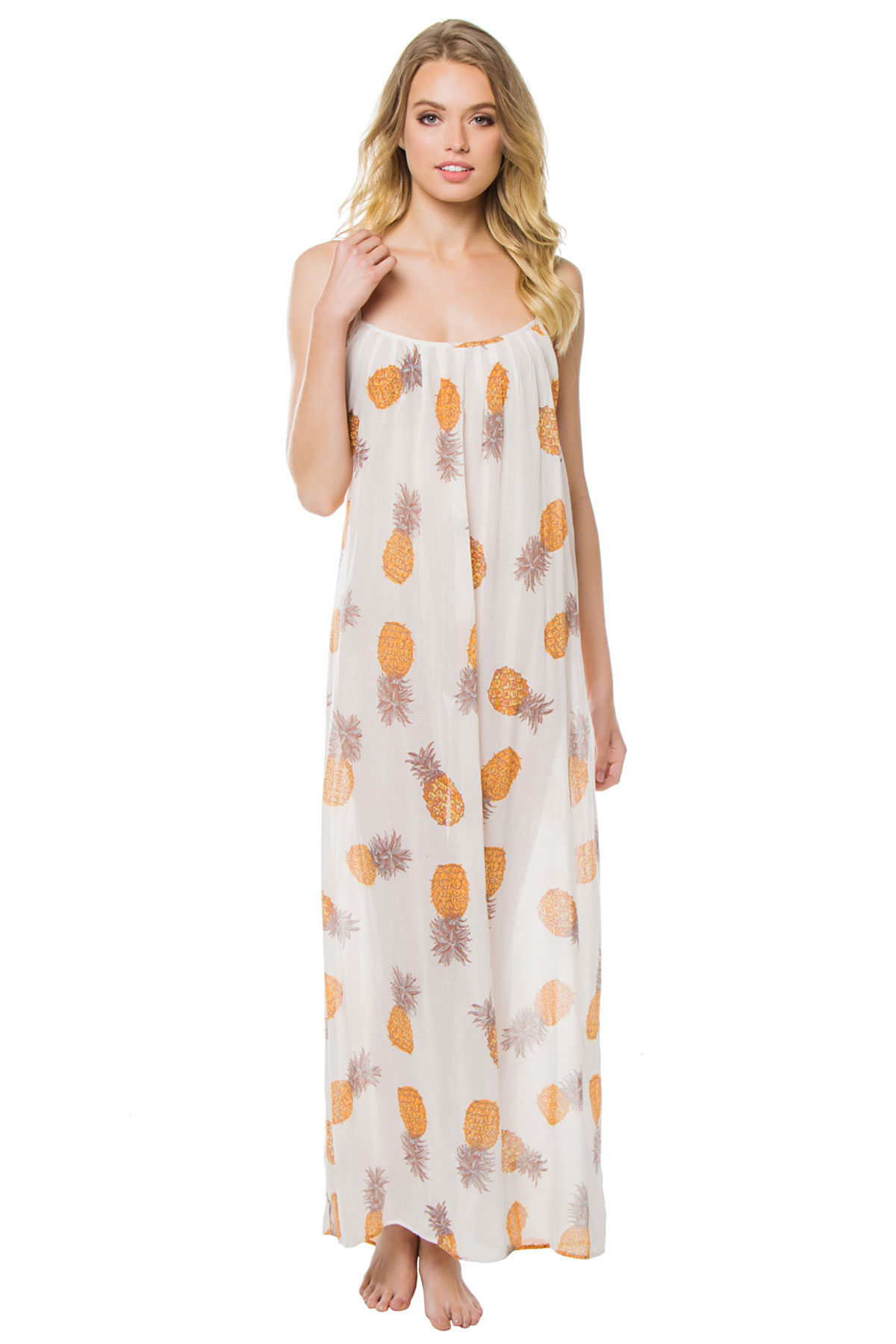 Anana Pineapple Print Maxi Dress - Gold/Ivory 1
