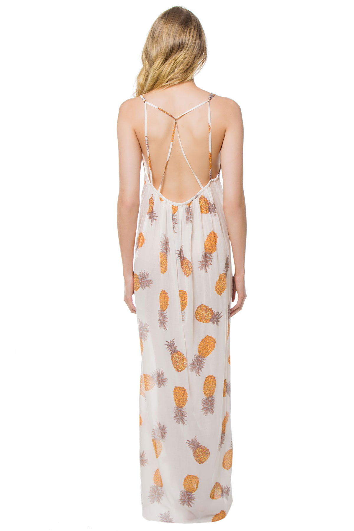 Anana Pineapple Print Maxi Dress - Gold/Ivory 2