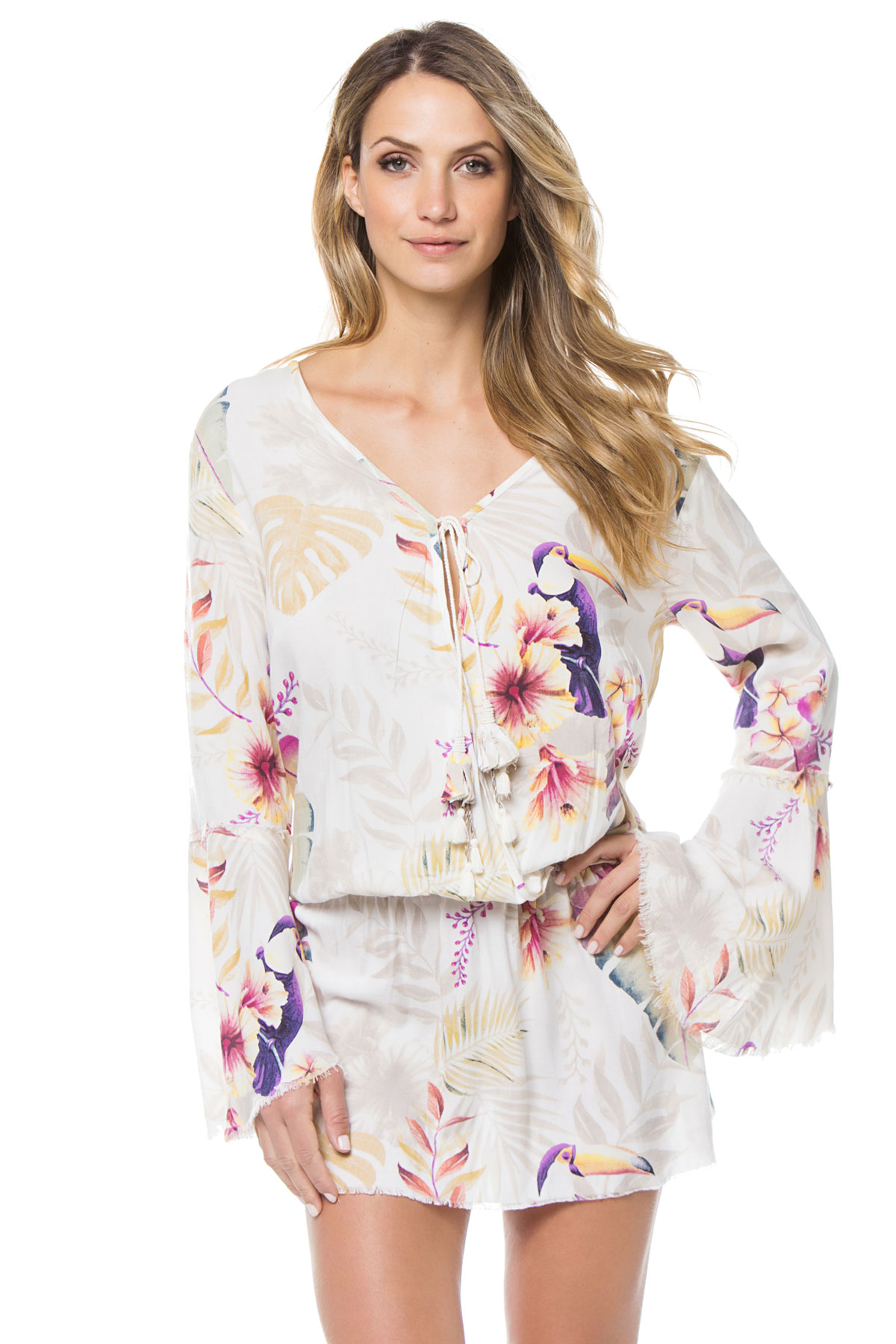 Bell Sleeve Gathered Waist Tunic - Tucan Multi 1