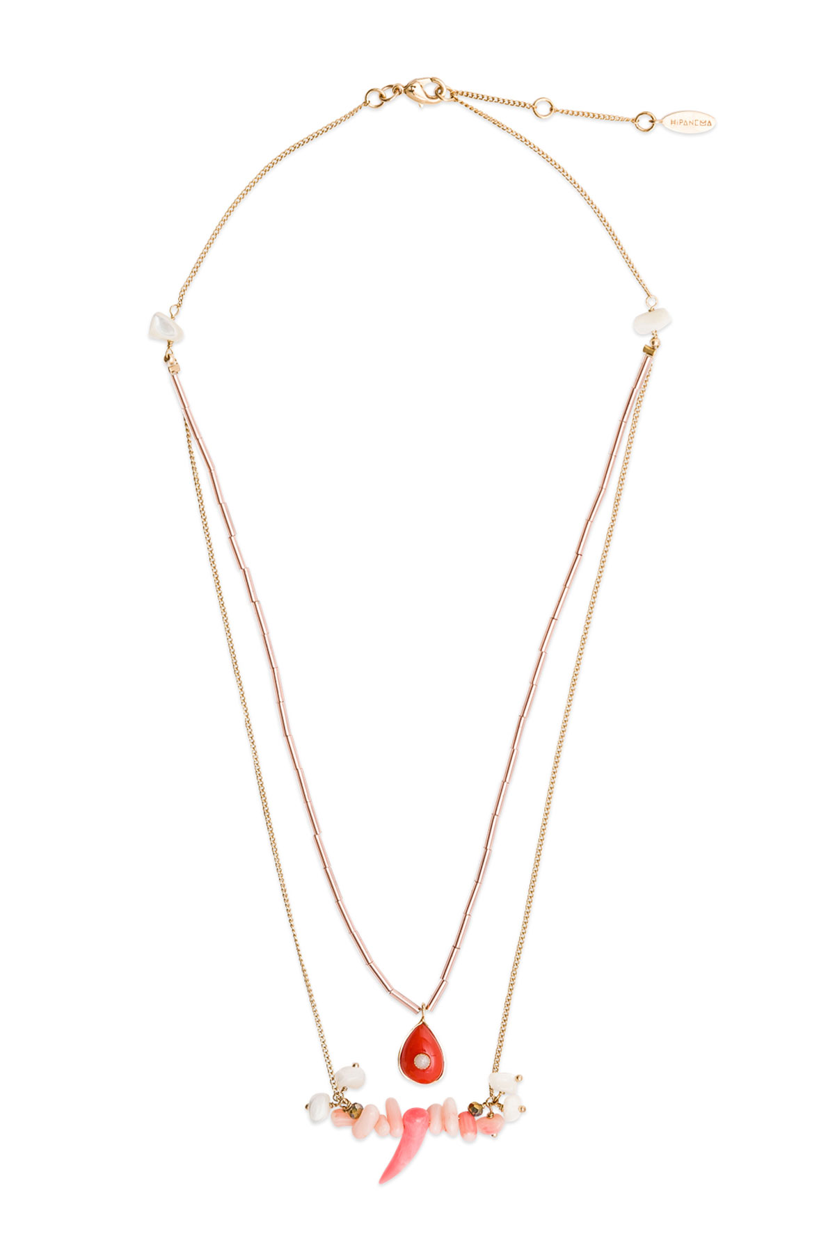Tilos Beaded Layer Necklace - Coral 1