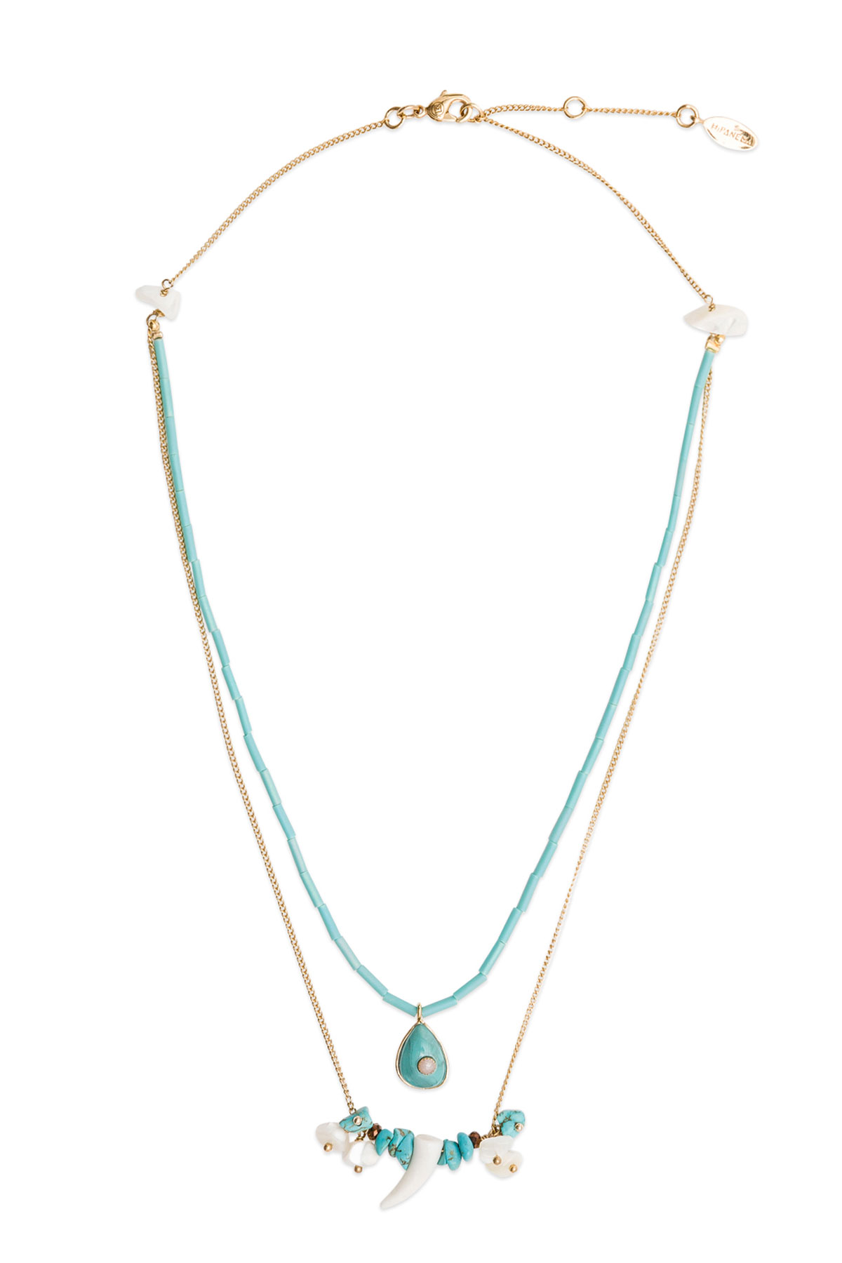Tilos Beaded Layer Necklace - Turquoise 2