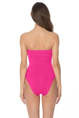 Ribbed Pull-On Bandeau One Piece Swimsuit