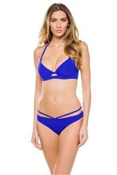 Cobalt Underwire Banded Halter Bikini Top (D-GG Cup)