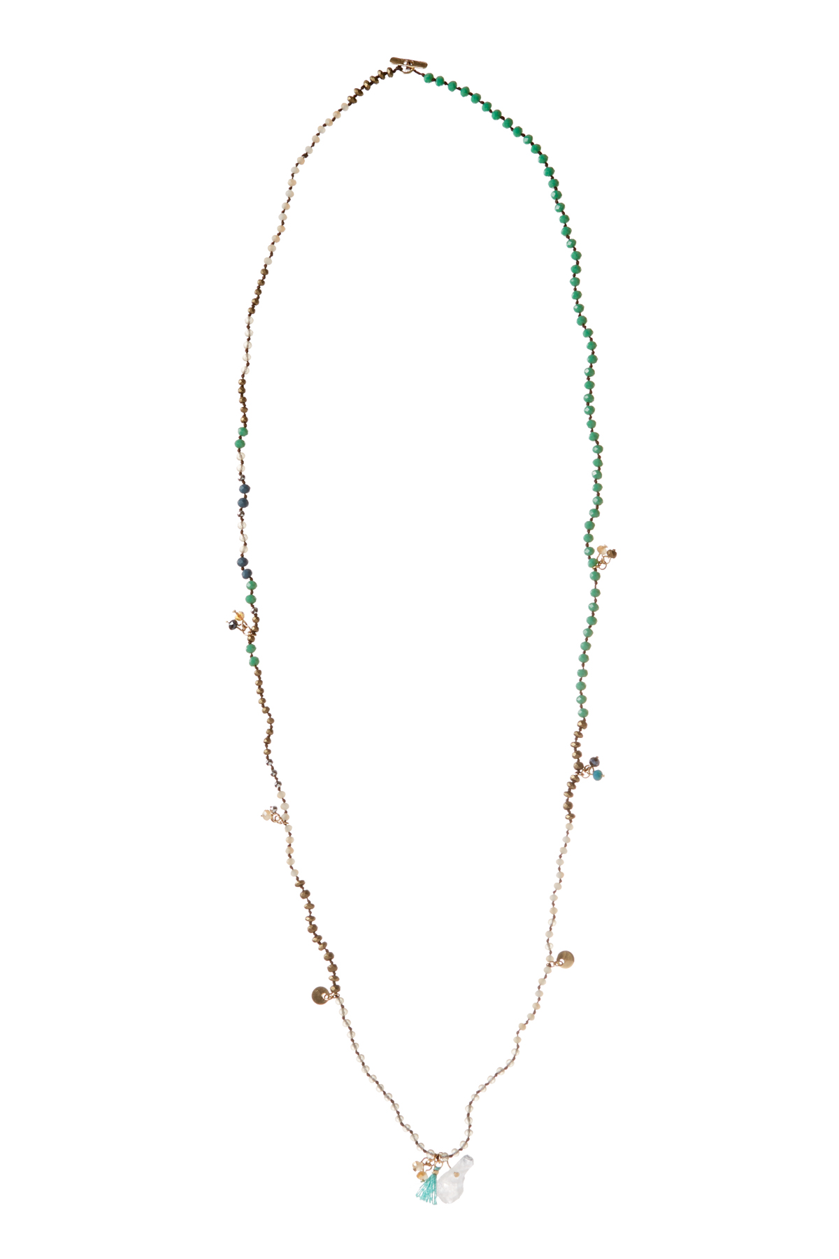 Beaded Stone And Charm Necklace - Multi 1
