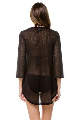 Sheer Crochet With Sequins Tunic