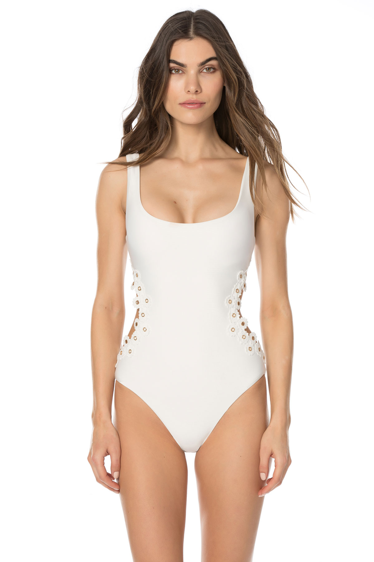 Lace-Up Over The Shoulder One Piece Swimsuit - White 4