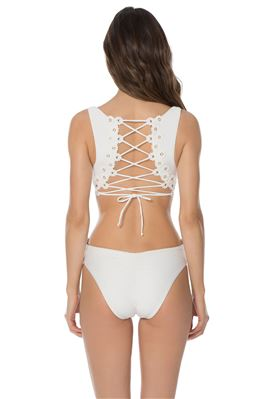 Lace-Up Over The Shoulder One Piece Swimsuit