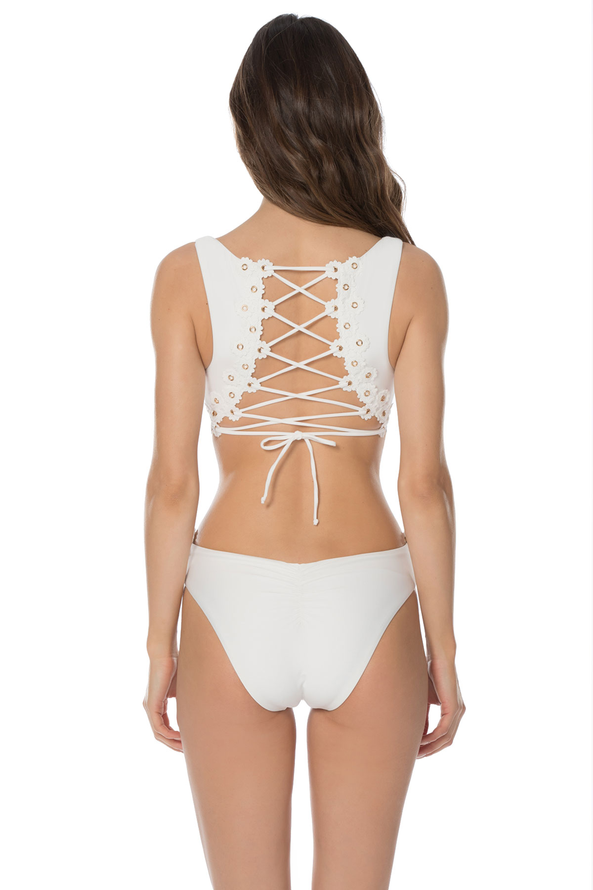 Lace-Up Over The Shoulder One Piece Swimsuit - White 5