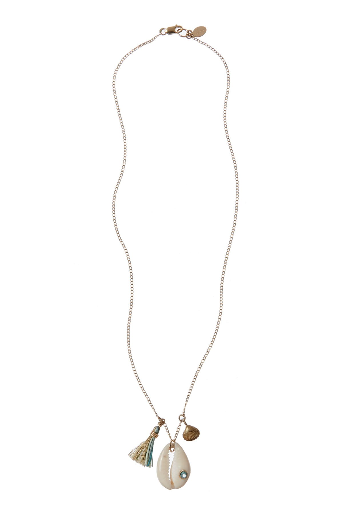 Cowrie Charm Necklace - Erinite Spinel 1