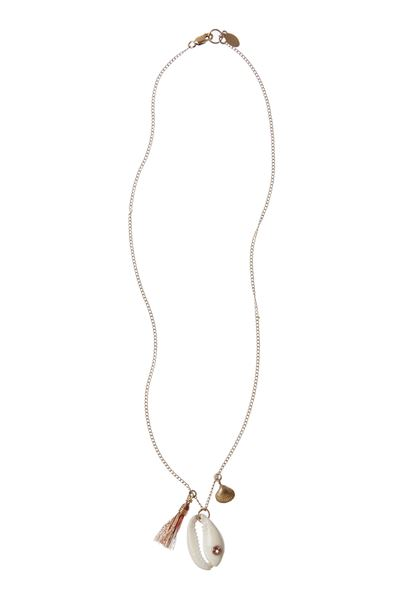Cowrie Charm Necklace - Blush/Pink - One