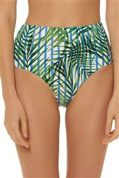 Palm Print High Waist Bikini Bottom