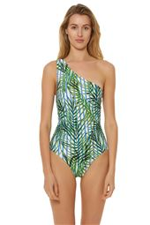 Palm Print Asymmetrical One Piece Swimsuit