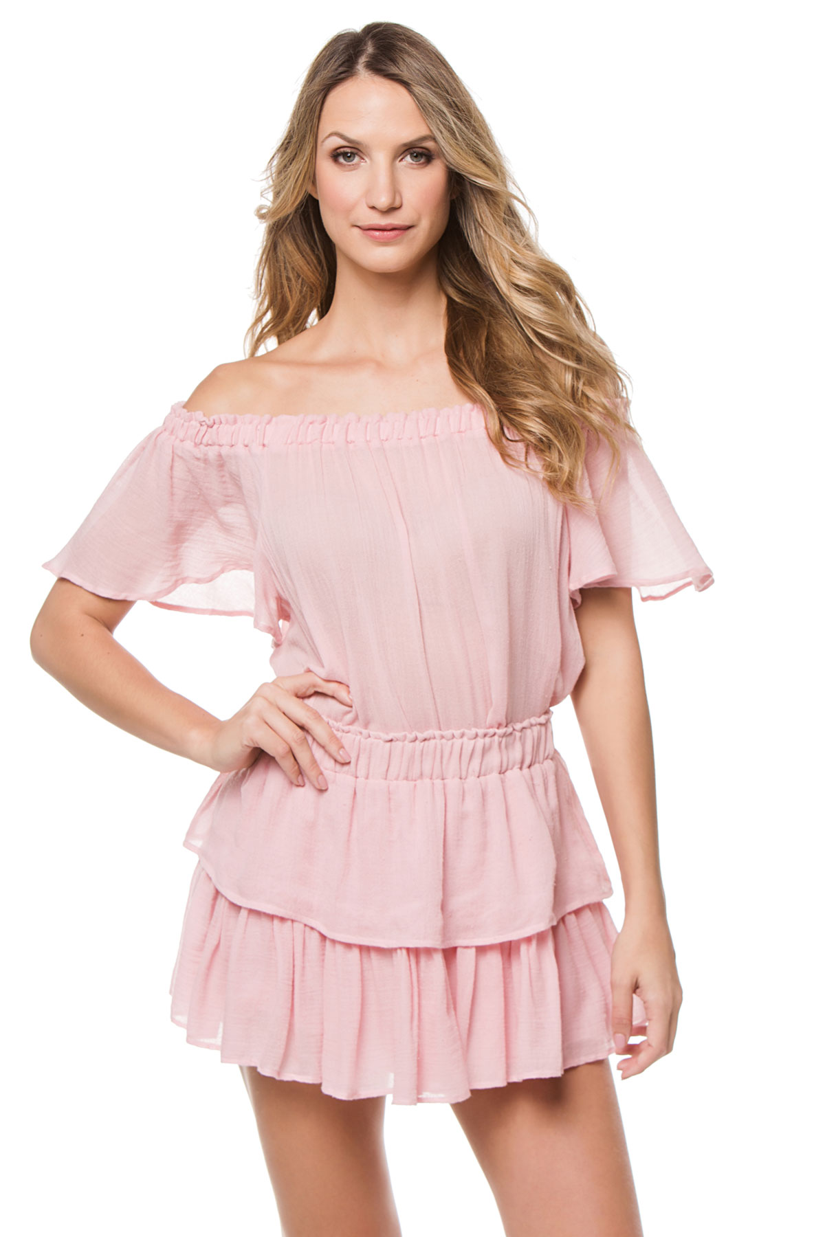 Off The Shoulder Blouse - Silver Pink