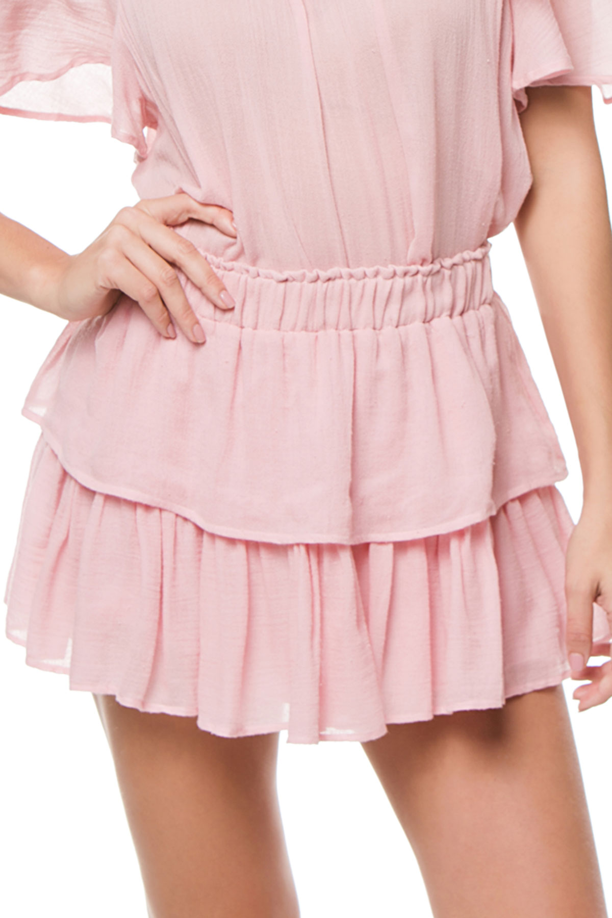 Tiered Ruffle Skirt - Silver Pink