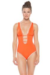 Ruffle Trim Plunge X-Back One Piece Swimsuit