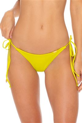 Ribbed Cinched Tie Side Brazilian Bikini Bottom