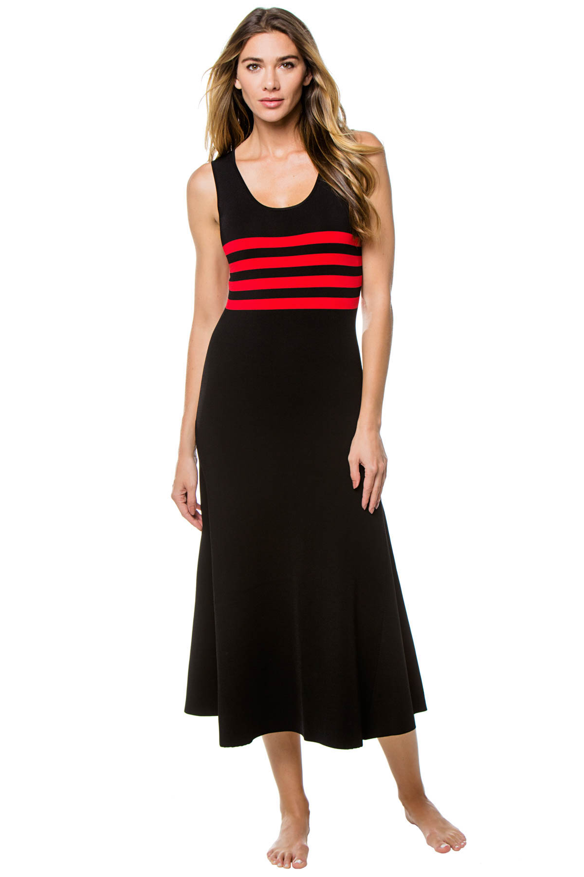 Riveria Ribbed Knit Mid-Length Dress - Red/Black 1