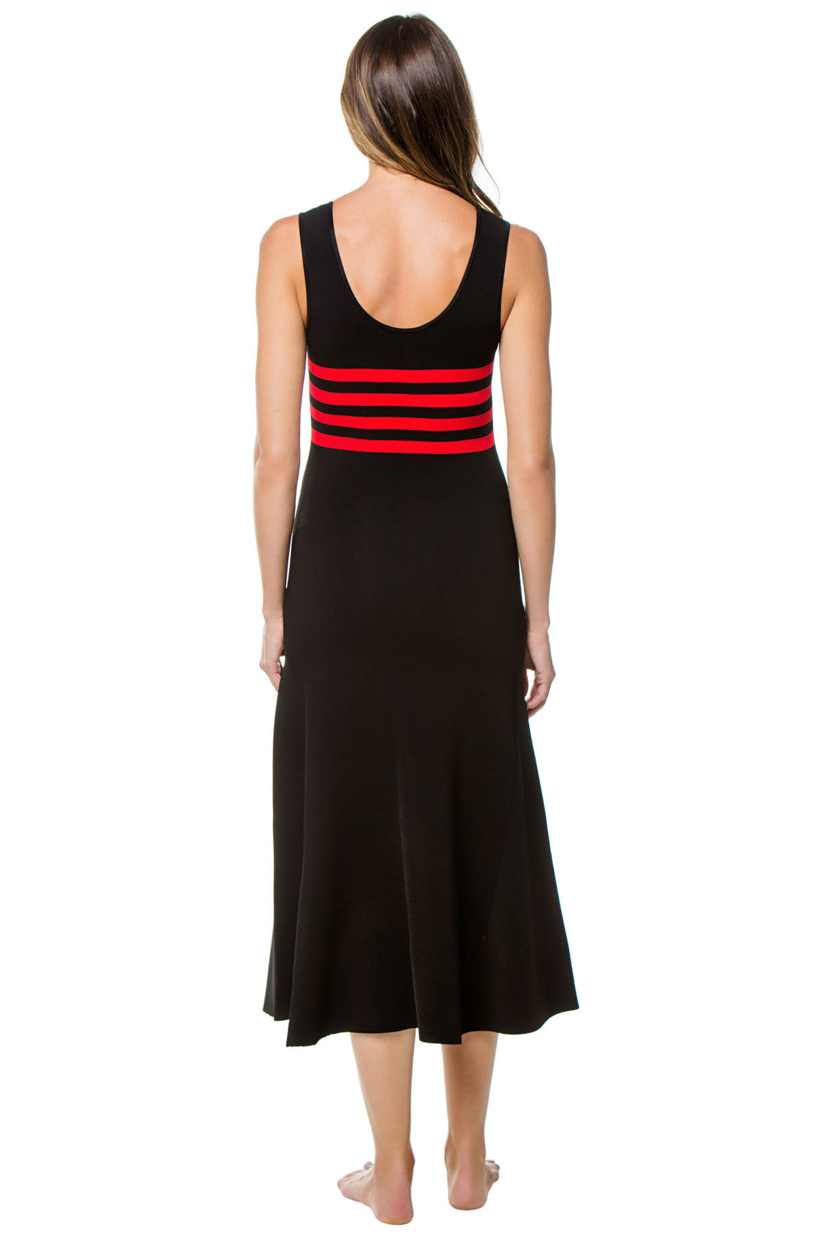 Riveria Ribbed Knit Mid-Length Dress - Red/Black 2