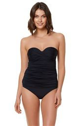 Twist-Front Shirred Bandeau Tankini Top