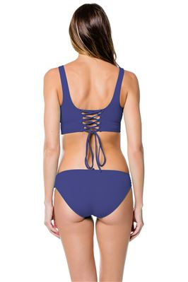 Blue Topaz Banded Lace-Up Bikini Top (D+ Cup)