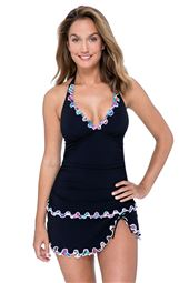 Shirred V-Neck Halter Tankini Top