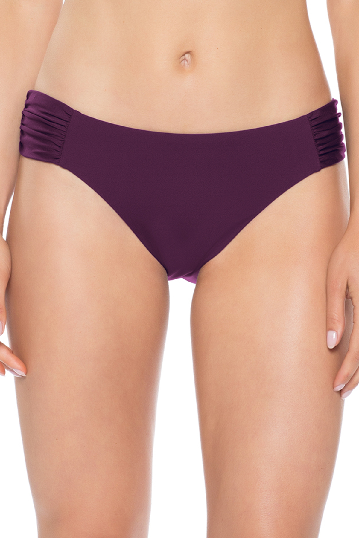 American Shirred Tab Side Hipster Bikini Bottom - Merlot 7