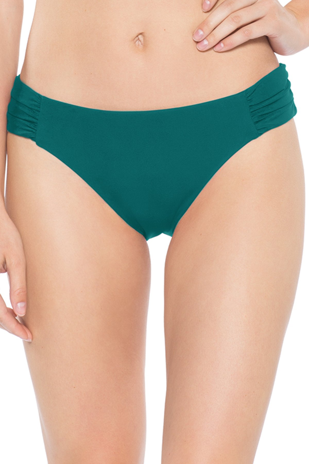 American Shirred Tab Side Hipster Bikini Bottom - Fern 3