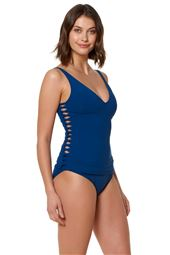 Twisted Inset Over The Shoulder Tankini Top
