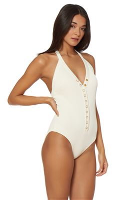 Ribbed Plunge Halter One Piece Swimsuit