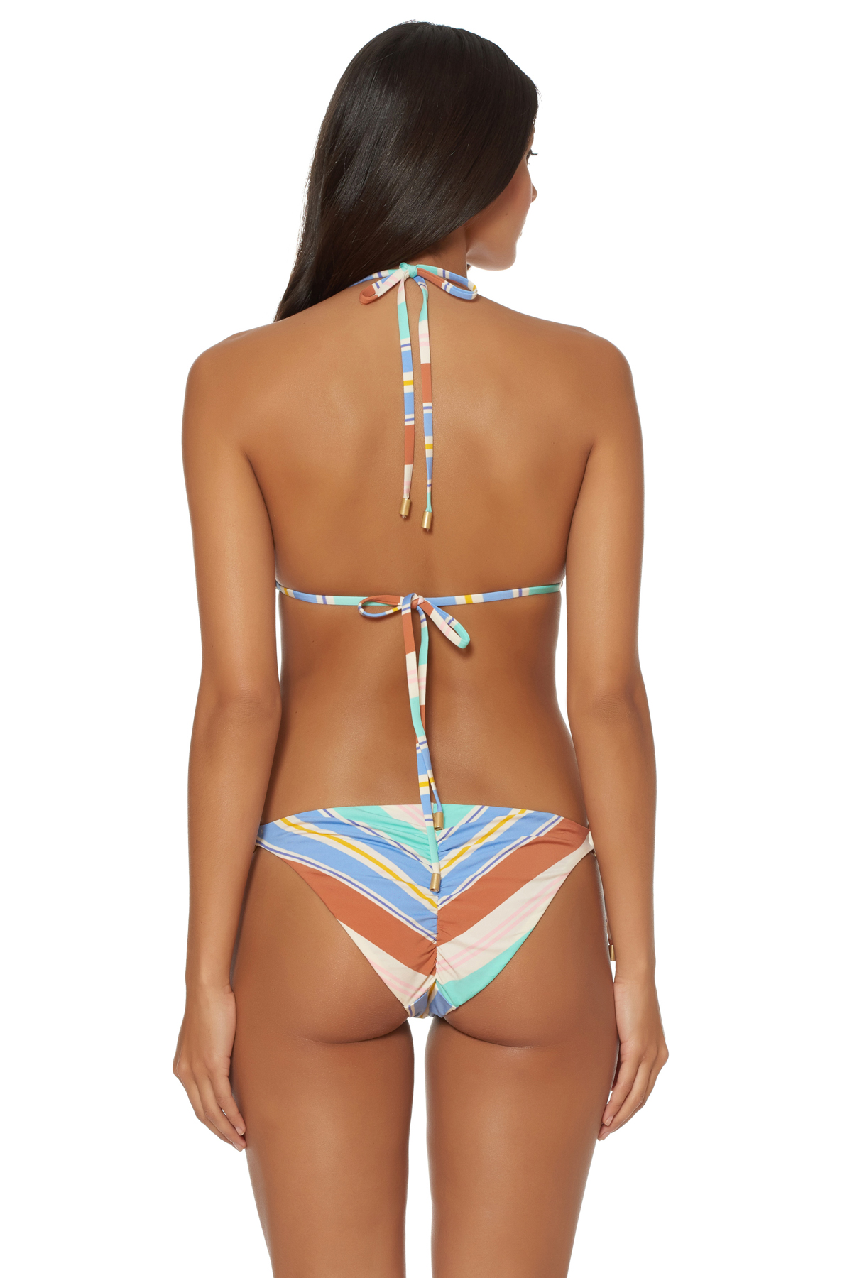 Ring Sliding Triangle Bikini Top - Aquarius Stripe/Blush 2