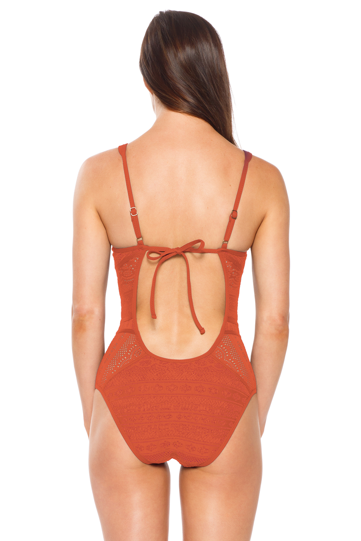 Keyhole Plunge One Piece Swimsuit - Clay 4