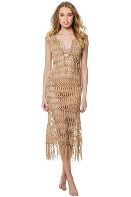 Fringe Hem Crochet Mid-Length Dress