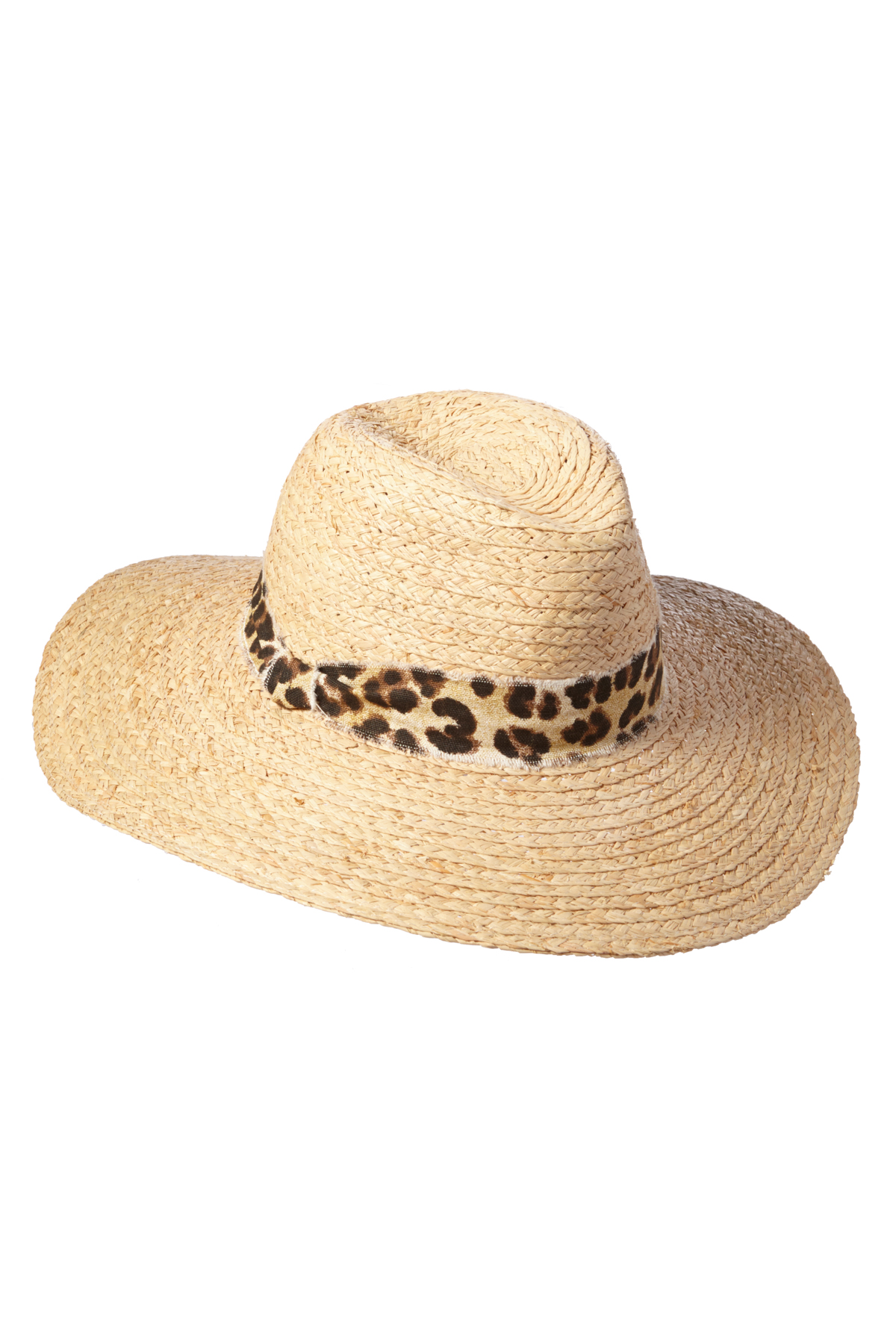 Leopard Print Trim Sun Hat - Natural 1