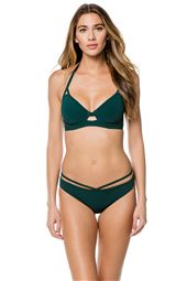 Forest Green Underwire Banded Halter Bikini Top (D-GG Cup)