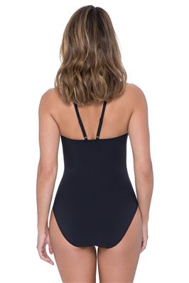 V-Strap High Neck One Piece Swimsuit