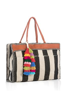 Naomi Striped Canvas Tote