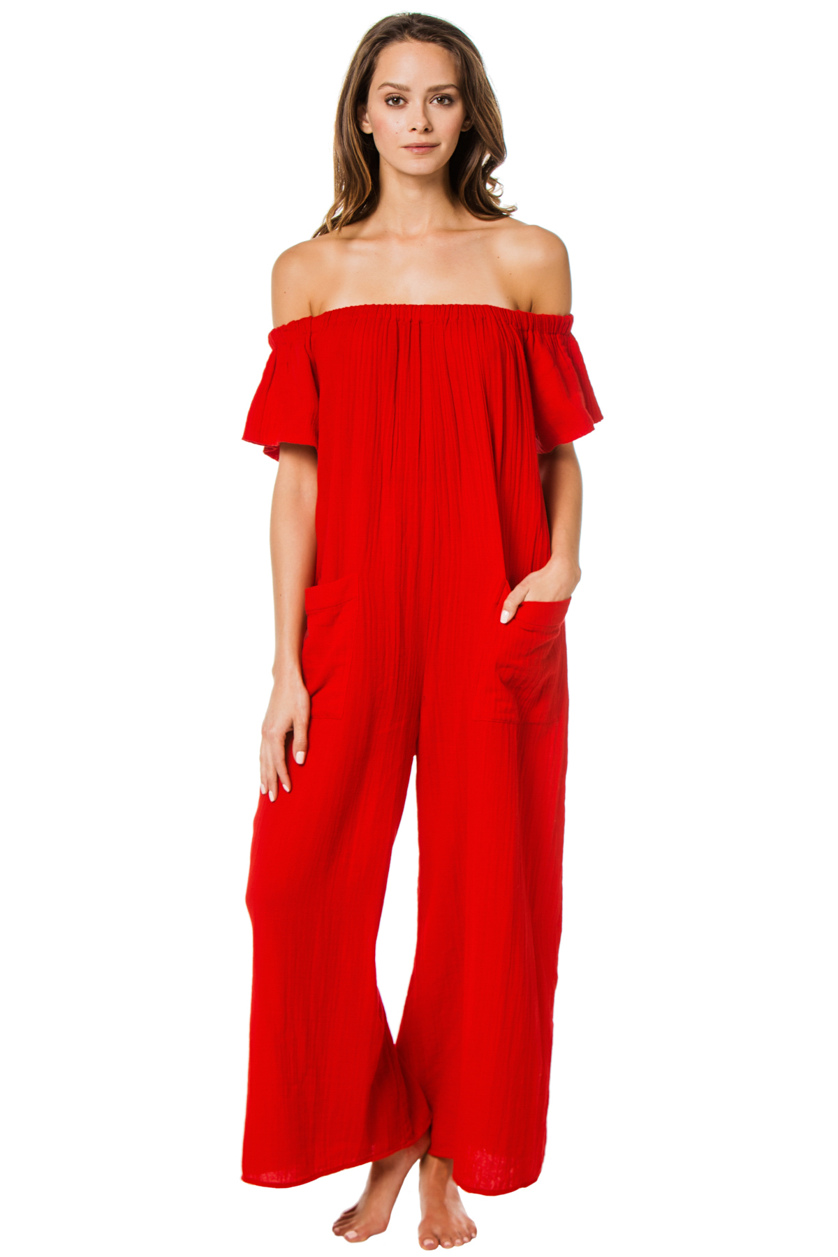 Blanche Off the Shoulder Jumpsuit - Red 1