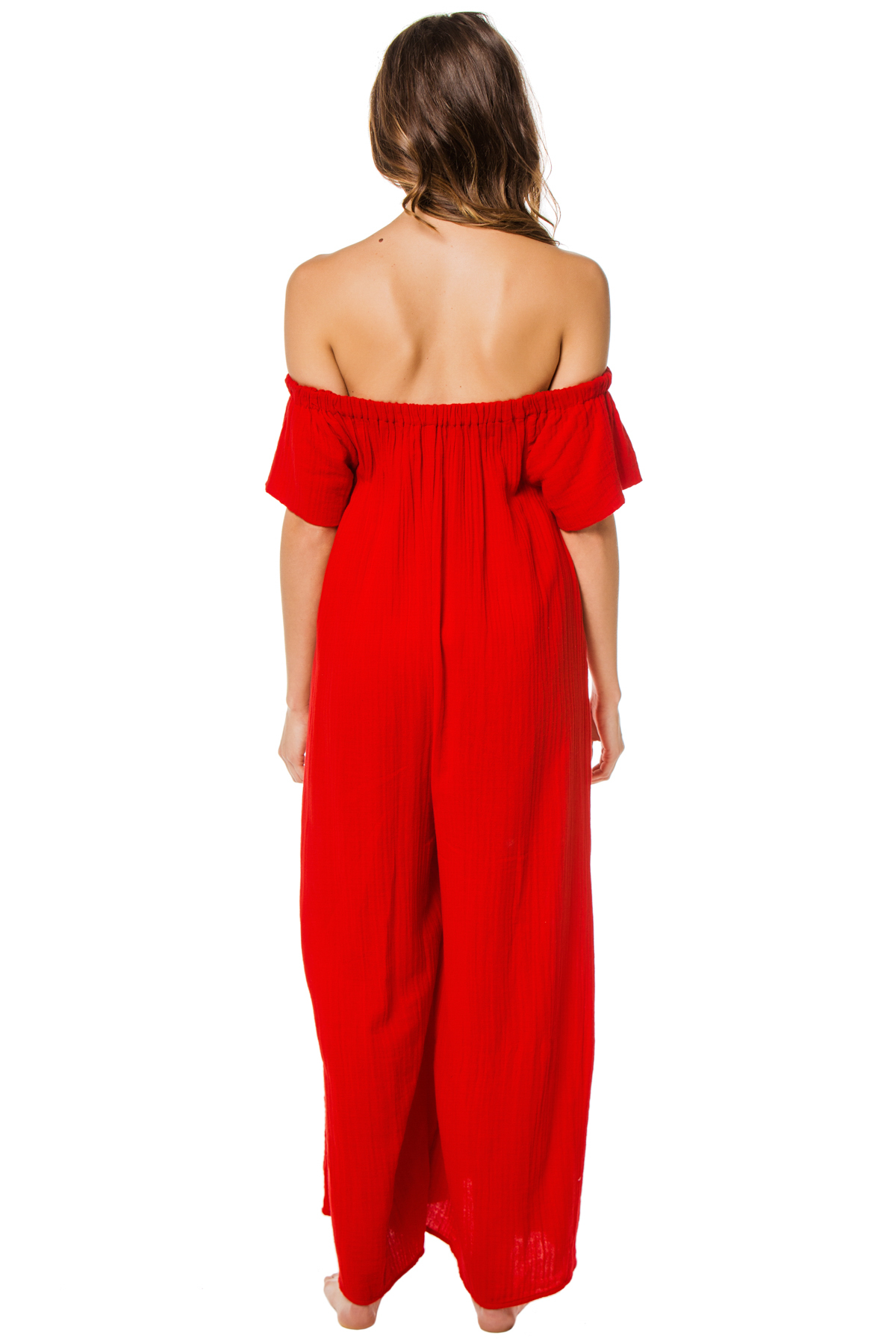 Blanche Off the Shoulder Jumpsuit - Red 2