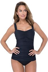 Pleated Underwire Over The Shoulder Tankini Top (D Cup)