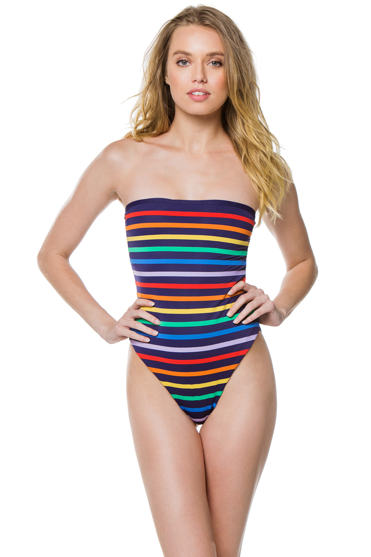 Paraty Striped Bandeau One Piece Swimsuit - Navy 1