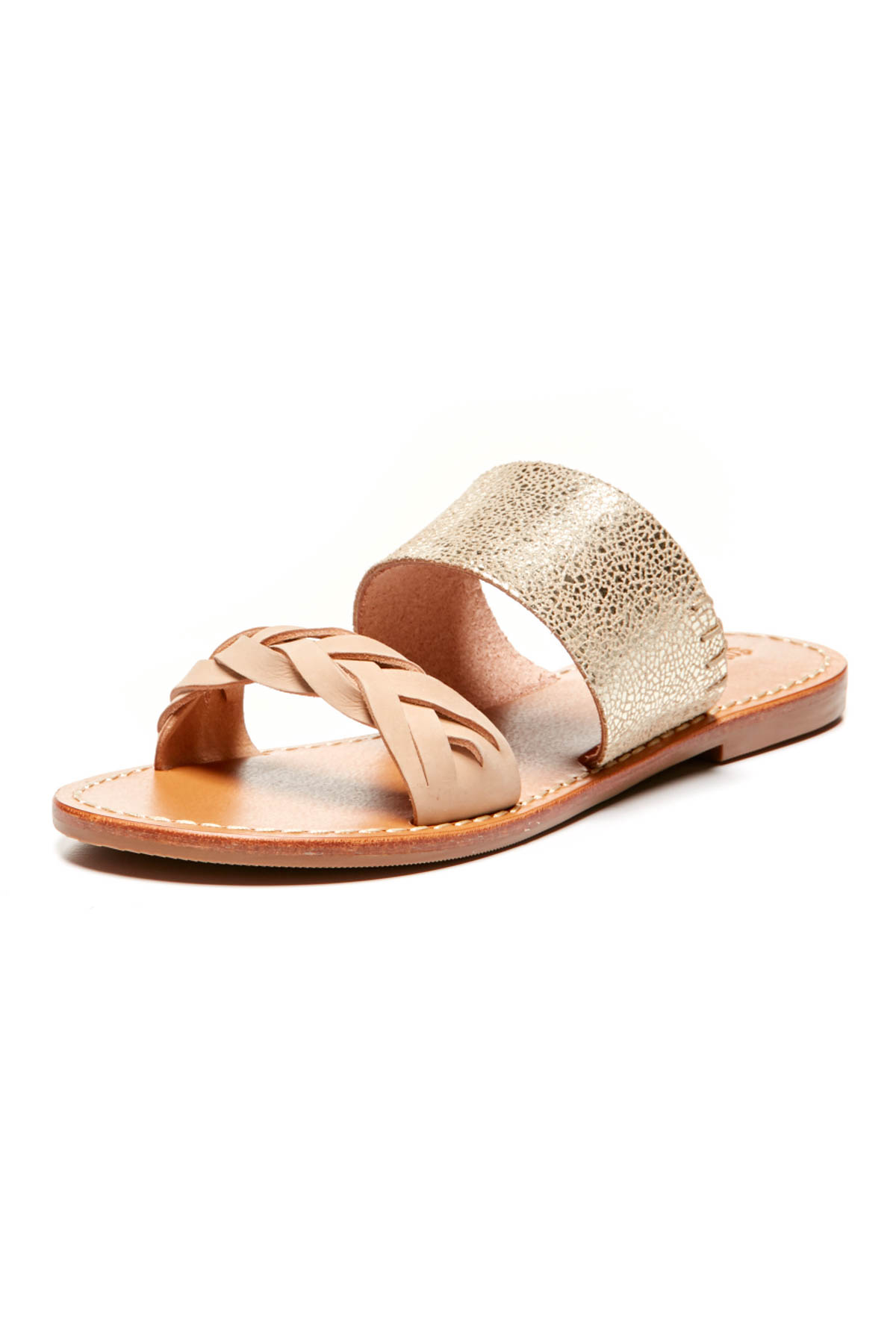 Meltallic Braided Sandals - Nude/Pale Gold 1